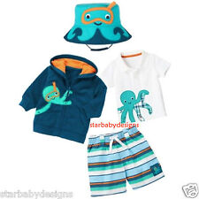 NWT Gymboree 3-6 Months Octopus Hugs Outfit,4pc,Polo Shirt,Hoodie Top,Shorts,Hat