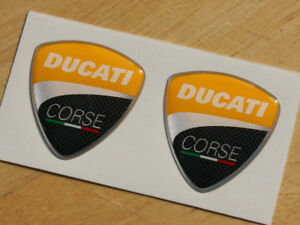Yellow Ducati Corse pair of 3D Domed Badges 2010 30mm