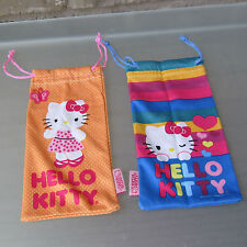 Hello Kitty Microfiber Pouch Bag Protects Cleans Eyewear Cell Phone Glasss 2 Lot
