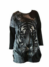 Ladies Womens Round Neck Black Grey Long Sleeve Animal Tiger Print Pullover Top