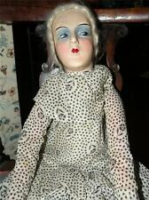 """Antique French Boudoir Bed Doll 27"""" Tall C 1920"""