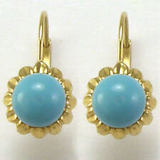 14k Solid Yellow Gold Sunflower Turquoise Earrings # E833