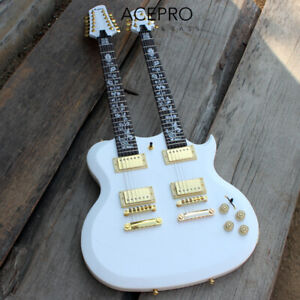White Acepro Double Neck Electric guitar Carved top Abalone custom stem inlay