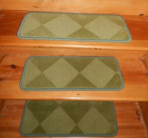 13 = Step 9'' x  24''  Landing  30'' x 24''  Woven Wool Carpet Stair Treads.