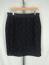 Ann Taylor Lace Skirt Size 12 Navy Blue Straight Pencil