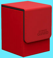 ULTIMATE GUARD LEATHERETTE FLIP 100+ RED DECK CASE Standard Size Card Box mtg
