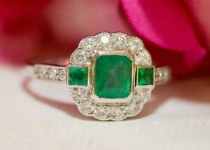 Vintage Emerald Cut Green Flower Halo Wedding Engagement Ring 925 Silver