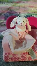 CARTER'S SECURITY BLANKET BUNNY HOLDING HIS  LOVEY PINK WHITE STRIPES RATTLE TOY