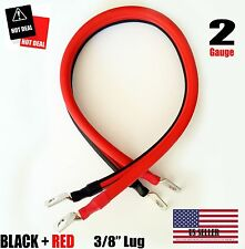 "2 AWG Gauge  3/8"" Lug Battery Cable Inverter Cables Solar, RV, Car, Golf , ...."
