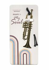 NEW polished gold coloured metal trumpet bookmark with black tassel free postage