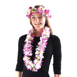 Hawaii Luau Party Artificial Fabric Hawaiian Plumeria Lei and Head Band Haku Set