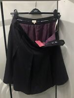 Whistles Black Lilac Blue Pinstripe Pleated Skirt Button Detail UK 12 Wool Blend