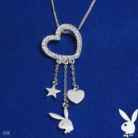 Playboy Necklace Silver Pendant Chain Swarovski Crystal Heart Charm Bunny Star