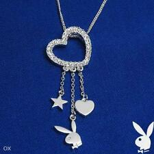 Playboy Necklace Silver Pendant Chain Swarovski Crystal Heart Charm Bunny Star