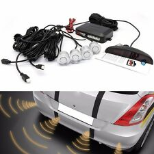 Car 4 Parking Sensors Kit Reverse Backup Radar System Sound Alert  Alarm Silver