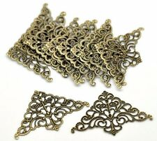 "10 Bronzed TRIANGLE FILIGREE WRAPS 2"" x 1-1/4"" (50mm) (#17546) Connector"