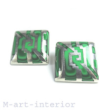 Malachite oreilles Sterling Argent 70er Taxco Mexico Vintage silver clip earrings