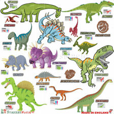 Dinosaure Wall Stickers Dino Educational noms types Chambre Décorations Garçons