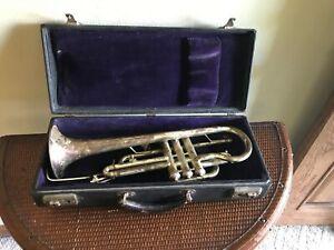 1920's Antique Cornet Concertone Czech Case Mouthpiece For Restoration Vintage