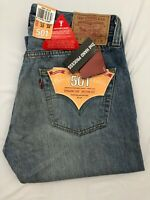 BNWT Men's Levi's 501 Straight Fit Distressed Blue Button Fly Jeans | W32 L32