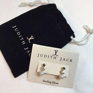 JUDITH JACK $88 Gold-Plated Sterling Triple Drop Earrings Swarovski Marcasite