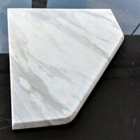 "8"" Marble Shower Corner Shelf (Volakas White XD) Stone Bathroom Caddy Soap Dish"