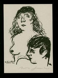 """Günther, Herta (1934 Dresden – 2018 Dresden)  """"Junges Paar späte""""  Lithografie"""