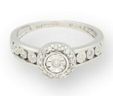 9Carat White Gold 0.15ct Diamond Halo Cluster Ring (Size N) 8mm Head