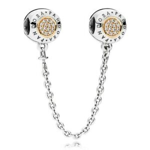 New Genuine Silver Pandora Signature Safety Chain Two Tone Gold 796269CZ UK GIFT