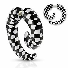 PAIR (2) Checker Printed Black & White Fake Tapers Spiral Cheaters 16 Gauge