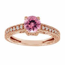 Pink Tourmaline & Diamond Engagement Ring 14K Rose Gold 1.00 Carat Vintage Style
