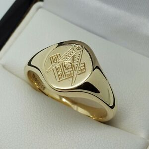 9ct Yellow Gold Heavy Masonic Signet Ring, Finger Size Q
