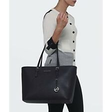 Michael Kors Jet Set Travel Saffiano Leather Tote (Black)
