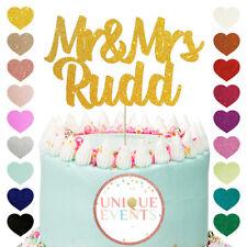 Mr & Mrs Custom Name Personalised Wedding Cake Topper Glitter Cake Topper Mr Mrs