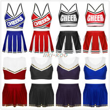 Cheer Leader Fancy Dress Costume Women Lady Crop Top Mini Pleated Skirt Outfits
