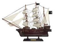 "Wooden Black Bart's Royal Fortune White Sails Pirate Ship Model 15"" - Boat Decor"