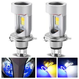 2PC H4 9003 LED Motorcycle Headlight Kit Hi/Low Yellow White Bulb Blue Angel Eye
