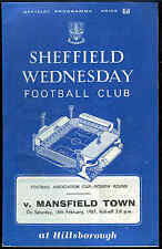 Football programme - Sheffield Wednesday v Mansfield Town - FA Cup - 18/2/1967