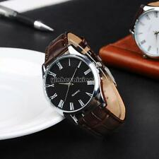 Mens Cowhide Leather Wrist Watch Analog Quartz Roman Numeral Business Watches