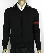 $1100 New Authentic Gucci Men's Black Wool Jacket w/Web Detail M 391258 1060