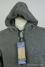 DOLCE & GABBANA MENS CARDIGAN SMALL 40 ITALIAN ZIPPER HOODED CHARCOAL SWEATER