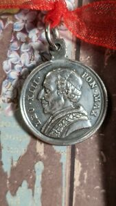 Antique Vintage Pope Leo XIII Bene Merenti Silver Plated Religious Medal Pendant