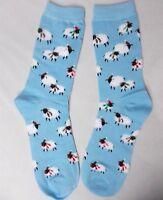 Charter Club Women's Holiday Crew Socks Scarf Sheep Light Blue Size 9-11