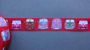 "Webband Ripsband ""Bulli - Bus - Hippie - Peace  "" rot 1 Meter 38 mm breit"