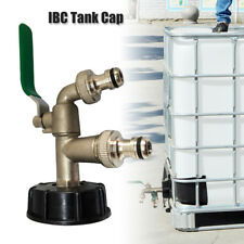 """IBC Tank Cap with Brass Tap & 1/2"""" TWIN Tap Snap On Connector Water Butt S60X6"""