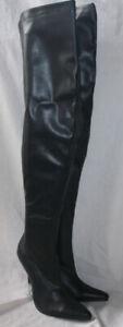 LADIES 5.5 INCH THIGH HIGH BLACK BOOT / SILVER HEEL / INSIDE ZIP SIZE UK 6 & 7