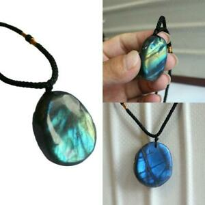 Natural Irregular Crystal Labradorite Pendant Necklace Healing Stone Jewelry UK