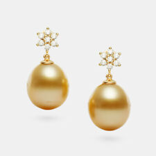 Drop Rich Golden South Sea Cultured Pearl Earrings 14k Solid Yellow Gold