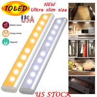 PIR Motion Sensor Cabinet 10LEDs Light Ultra Slim Portable Wall Lamp Wardrobe US