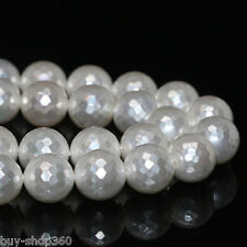Natural white shell pearl 12mm faceted round factory price loose beads 15'' AAA
